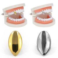 الهيب هوب 14K مطلية بالذهب واحدة الأسنان الشوايات مخصص الأنياب قبعات الأسنان مصاص الدماء فانغ لحزب هالوين مجوهرات هدية