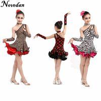 Seksi Leopar Çocuk Kız Latin Dans Elbise Ucuz Genç Çocuklar Latin Salsa Performans Kostümleri Elbise Parti Elbiseler