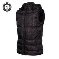 COUTUDI 2017 Abbigliamento da uomo Giacche da gilet invernale Camouflage nero con cappuccio giacca senza maniche cappotto caldo cotone stampato giubbotto cappotto