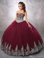 2018 Burgundy Beaded Ball Gown Quinceanera Dresses Sweethear...