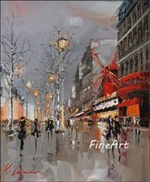 100% hand- painted oil wall art discount impression paris str...