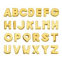 130pcs 8 milímetros letras do alfabeto Inglês A-Z ouro letras de slides simples DIY acessório ajuste pet collarwristband keychain