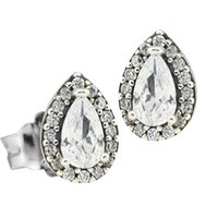 Neue authentische 925 Sterling Silber Ohrstecker Funkelnde Liebe Ohrring Herz Klar Kristallohren Für Frauen Zierlich Fine Schmuck