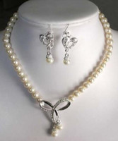 """7-8мм Белый Akoya культивированный жемчуг ожерелье серьги 18"""" бесплатная доставка"""
