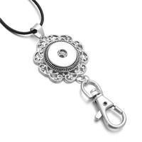 Noosa Snap Button Jewelry Vintage Metal Crystal Flower 18mm Botón a presión colgante, llavero collar para mujer