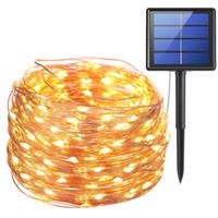 LED 문자열, 10m 100 LED 태양 램프 구리 와이어 요정 문자열 안뜰 조명 33 피트 옥외 정원에 대 한 방수 크리스마스 웨딩 파티 장식