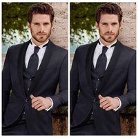 Siyah Damat Düğün Smokin Grooto Takım Elbise Ince Mens Mens Balo Parti 3 Parça Iş Kıyafeti Takım Elbise 2019 Şal Yaka (Ceket + Pantolon + Yelek)