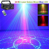 AUCD Mini Fernbedienung 24 Muster Rot Grün Muster Laser BLAU LED Bühne  Beleuchtung DJ Home Xmas Party Holiday Show Lichter L24RG