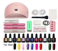 Set de manucure de vente chaude Jeu de kit de ongle 10 couleurs Gel polonais 36W \ 24W UV LED lampe ongles d'ongles Kit de gel d'ongles