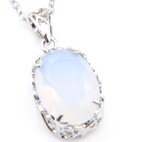 6 Pcs Lot 925 Silver Natural White Moonstone Gems Women'...