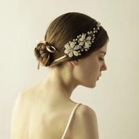 Nuevas vendas nupciales con las perlas de los diamantes artificiales Cableado del oro Joyería hecha a mano del pelo de las mujeres Tocados de la boda Accesorios nupciales BW-HP820