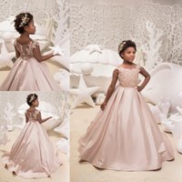 Cheap Blush Pink Satin Flower Girls Dresses For Weddings 201...