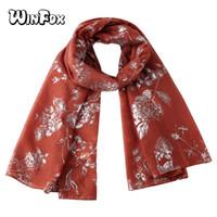 Winfox Noir Rouge Rose Imprimé Floral Feuille Argent Écharpe Pour Femmes  Élégant Doux Long Musulman hijab Écharpes Châle Chirstmas Cadeaux 98ce88359c7