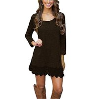 Womens Warm Long Sleeve Jumper Tops Ladies Slim Knitted Sweater Solid Color Casual Mini-Vestido RF0865