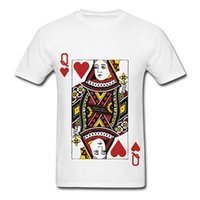 Fashion T Shirts Print Queen Of Hearts Playing Card O- Neck S...