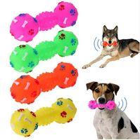 Resistente a los juguetes para mordeduras de perro Pesa de gimnasia con puntos En forma de perro Squeeze Squeaky Pet Chew Toy Faux Bone Pet Sound Productos para perros Pets