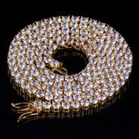 Nuova collana micro zircone europea e americana, ornamenti hip hop, collana singola da uomo in argento dorato da 4 mm