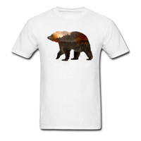 2018 Venta Caliente Hombres Tops Camisa Oso Horzion Paisaje Hip Hop Camisetas 100% Coon Diseño Ropa Camisa Cuello Redondo divertido