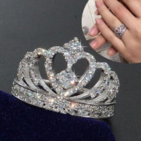 Fashion Crown White Sapphire Birthstone 925 Silver Wedding B...