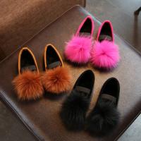 2017 소녀 신발 가을 새로운 매체와 대형 어린이 모피 모피 신발 부드러운 신발 캐주얼