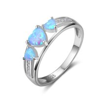 high quality pop Heart Cut Opal Rings Unique Blue Fire Opal ...