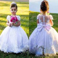 .Puffy Beyaz Dantel Kızlar Pageant Elbise Prenses Kanat Bow İlk Communion Elbise Elbisesi Çocuklar Parti Resmi Giyim Çiçek Kız Elbise Düğün için