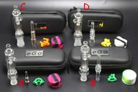 Mini NC Pro Kit с Titanium Кварц Nail Dab Rig Dish 10мм 14мм стекла Бонг Стекло водопроводная труба Очистить NC EGO сумка