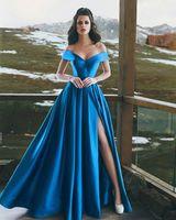 Abendgarderobe Dresse 2019 Modest Said Mhamad Saudi-Arabien Für Frauen Formelle Kleidung High Split Royal Blue Abendkleider Promi Robe De Soiree
