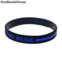 1PC Back The Blue Line Silicone Wristband Fashion Black Grea...