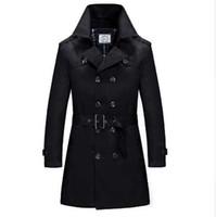 Gabardina hombre ropa de hombre más el tamaño negro primavera y otoño largo diseño trinchera abrigos cruzados hombres prendas de vestir de color caqui