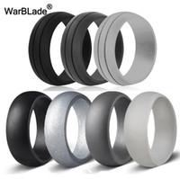 7 sztuk / zestaw 6-12 Rozmiar Hypoalergiczny Crossfit Elastyczne 8mm Food Grade FDA Silikonowy Palcowy pierścień dla Mężczyzn Kobiety Ślub Biżuteria Prezent