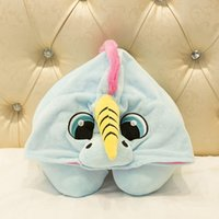 Unicorn Animals Neck U- shape Pillow with Hoodie Pink Blue Un...