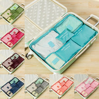 6pcs / set voyage bagages organisateur polyester portable voyage partition sac de rangement sacs de rangement organisation maison accessoires fournitures