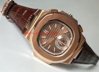 Lüks Yüksek Kalite İzle Deri Bantları 40.5mm Nautilus 5711 / 1R-001 18 K Rose Gold Asya Mekanik Şeffaf Otomatik Erkek İzle Saatler