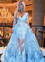 Sexy Illusion Sirena Vestidos de prom Playa Profunda V Cuello Mangas largas Apliques Lace Tulle Sobre Falda Cielo Azul Azul Cocktail Vestidos