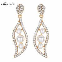 Minmin Simpatico Simulato Perla Foglia Forma Oro / Argento Colore Lungo Orecchini a goccia per donna 2018 New Fashion Crystal Jewelry EH1090