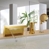 Envío gratis Gold Pvd 3 piezas ampliamente cascada cascada baño bañera romana grifo de la ducha