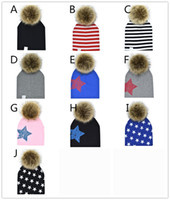 Kids removable pompons hat 10 colors for 9m- 4Y boys girls Cu...