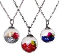 Желание желания, желающие дрейф бутылки кулон ожерелье кристалл медальон сушеные цветочные ожерелья для женщин поплавок медальон, желающий бутылку ожерелье