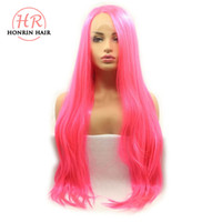 Honrin Hair Hot Pink Color Long Silky Straight Wigs Syntheti...