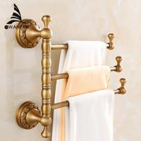수건 선반 3-4 계층 바 골동품 황동 수건 홀더 목욕 랙 활성 레일 바지 걸이 욕실 액세서리 벽 선반 F91373
