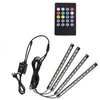 Rgb luz 4 pcs 48led USB Música Som Ativo Interior Do Carro LEVOU Tiras de Luz DC12V Auto Luzes Atmosfera Underdash Iluminação Strip Kit