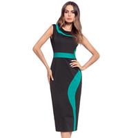 Hochwertiges heißes Art der Frauen elegantes Arbeitskleid bodycon Bleistift-Kleid sleeveless getäfeltes dünnes reizvolles schwarzes Kleid 2colors S-2XL