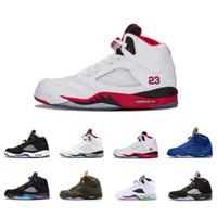 d2923bb59ea nike air jordan aj5 5s Classic 5 zapatillas de baloncesto blanco cemento  negro metalizado rojo azul
