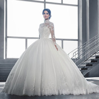 High Collar Sheer Long Sleeves Lace Ball Gowns Wedding Dress...