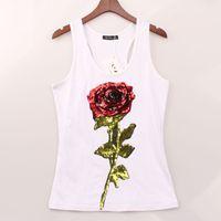 Femme Hauts D'été T-shirts Pour Femmes Sans Manches À Paillettes Fleur Rose T-shirt Femme Chemise Lady Harajuku T-shirts