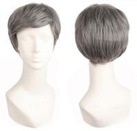 Männer kurze Haare lockige Perücken synthetische hitzebeständige Faser graue Perücken Cosplay