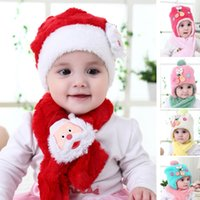 Christmas Hat Cap Sets Kids Baby Beanies Cap+ Scarf With Earm...