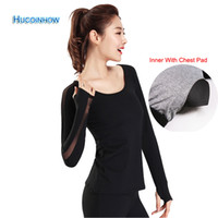 Quick- dry Yoga Top Clothes Long Sleeve Shirt With Chest Pad ...