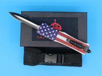 2018 Новый флаг 8,2 дюйма Medium 616 Auto Тактический нож 440C Double Edge Half рифлениям EDC Карманные ножи для выживания